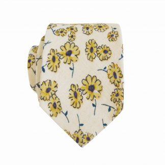 Creme, Yellow Daisy Skinny Cotton Men's Tie 5128-0