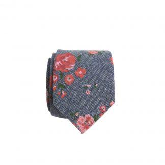 Gray, Pink Floral Skinny Cotton Men's Tie 9049-0