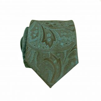 Hunter Green, Black Paisley Skinny Men's Tie 11253-0