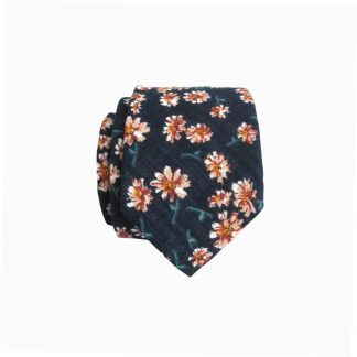 Navy, Mauve Daisies Skinny Cotton Men's Tie 3941-0