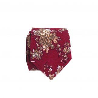 Red, Cream Khaki Floral Skinny Cotton Men's Tie 3559-0