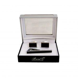 Silver, Black Square Tie bar Cuff link Set 10025-0