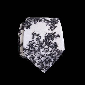 White, Gray Floral Skinny Cotton Men's Tie 3570-0