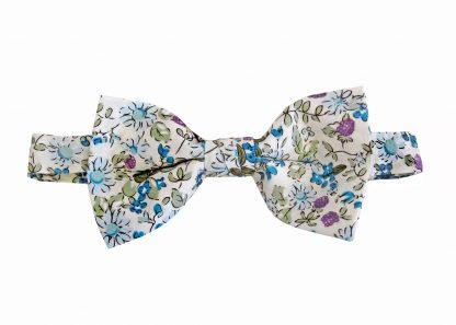 Creme, Blue, Lavender Cotton Banded Bow Tie 10779-0