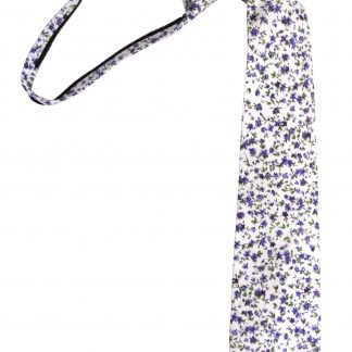 "17"" Boy's Cream, Purple Floral Cotton Zipper Tie 4169-0"