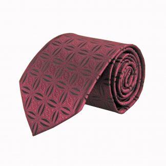 Burgundy, Black Star Medallion Pattern Men's Tie 7129-0