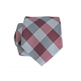 Burgundy, Gray Criss Cross Skinny Men's Tie w/Pocket Square 1820-0
