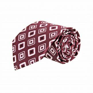 Burgundy, White, Black Square Pattern Men's Tie 10323-0