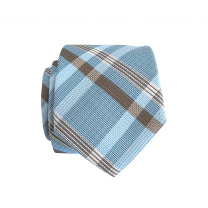 French Blue, Taupe Plaid Skinny Men's Tie w/Pocket Square 3358-0
