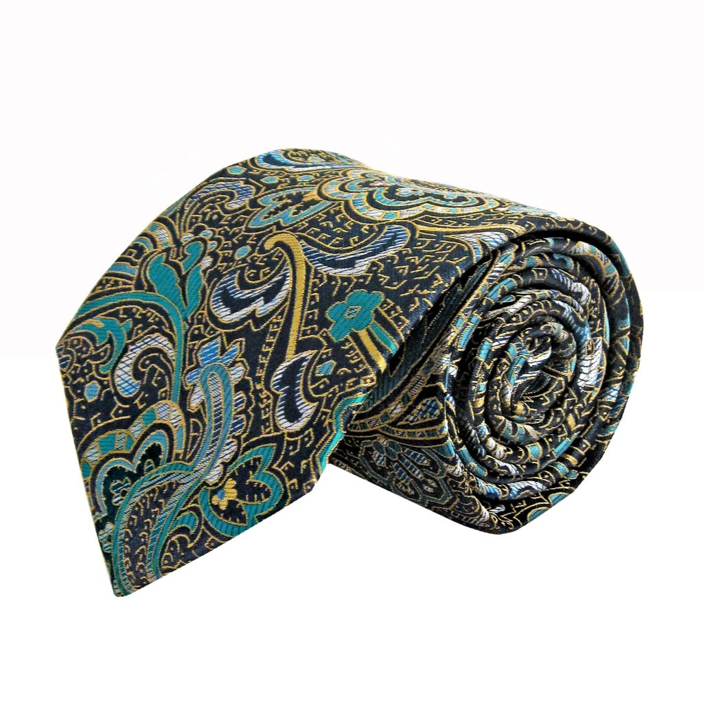 21d7bf7272aa Navy, Teal, Gold Floral Paisley Men's Tie 7136-0
