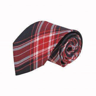 Red, Dark Navy Plaid Cotton Men's Tie 7123-0
